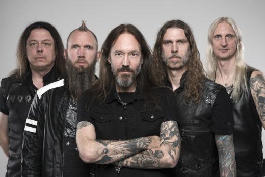 HAMMERFALL (L-R) PONTUS NORGREN (guitar), DAVID WALLIN (drums), JOACIM CANS (vocals), FREDRIK LARSSON (bass), OSCAR DRONJAK (guitar).